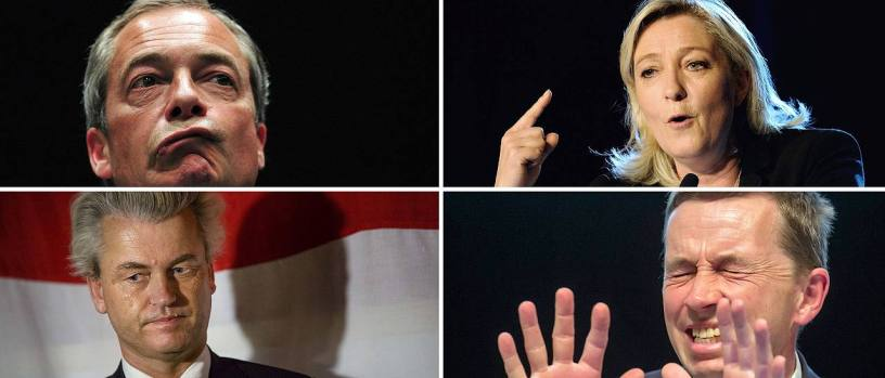 Nigel Farage (links oben) aus Großbritannien, Marine le Pen (rechts oben) aus Frankreich, Bernd Lucke (rechts unten) aus Drutschland, Geert Wilders aus den Niederlanden