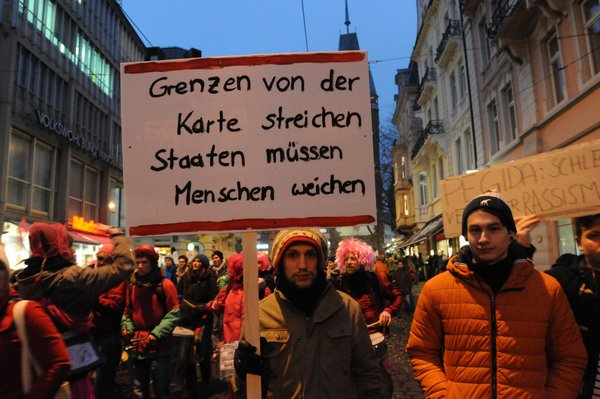 Germany, Freiburg -  January 23, 2015 20,000 people demonstrate against Germany's anti-Islamic movement Pegida, a far-right group. Keine Weitergabe an Drittverwerter.